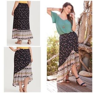 Torrid Asymmetrical Floral Wrap Boho Maxi Skirt 1X